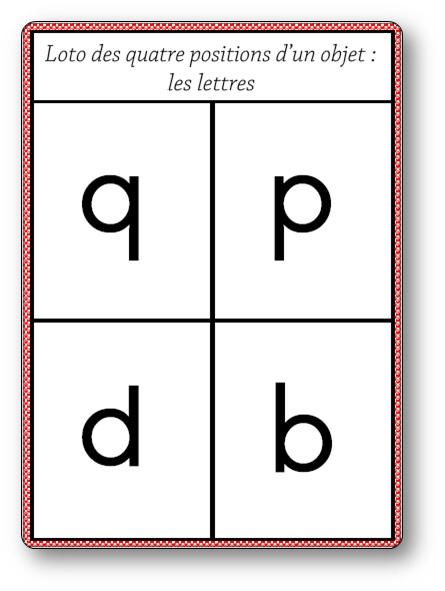 Loto des quatre positions d'un objet : les lettres p, q, b et d