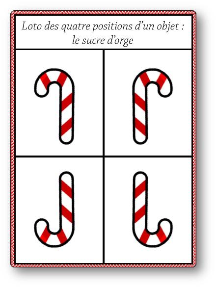 Loto des quatre positions d'un objet : le sucre d'orge