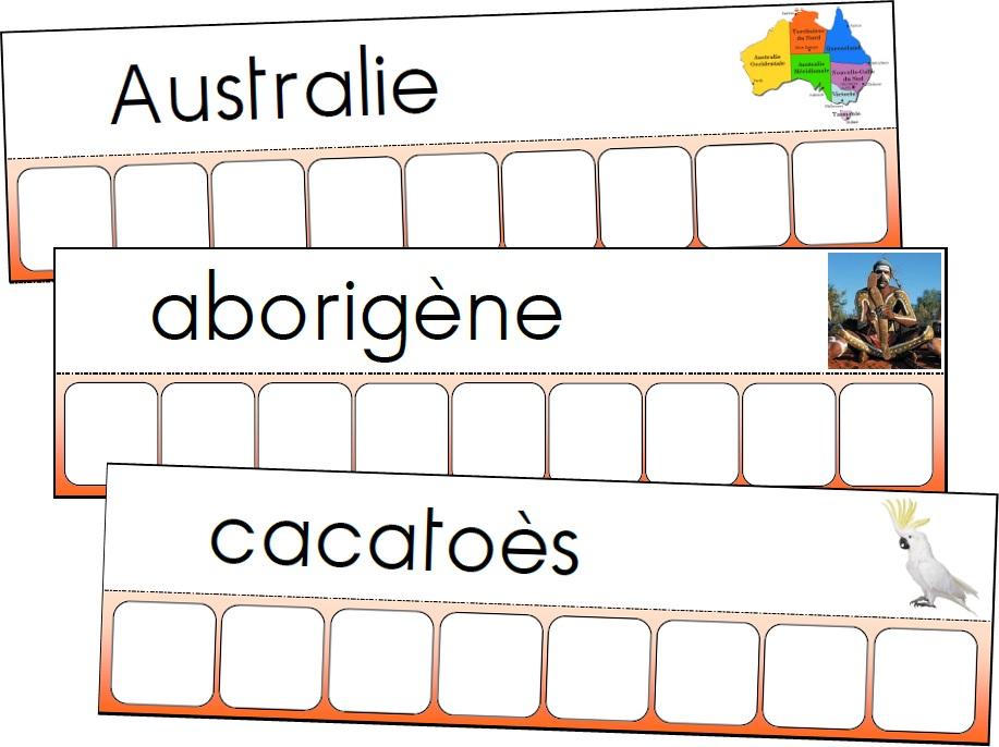 Atelier des mots de l'Australie