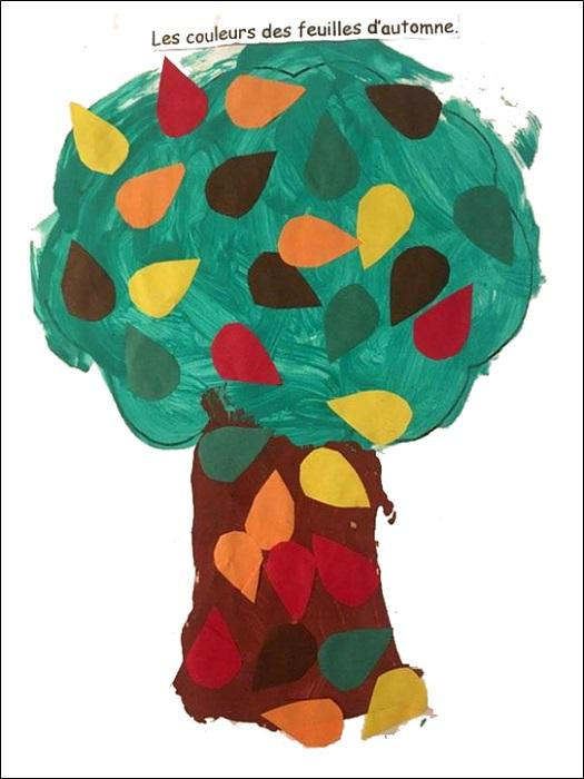 Arbre en peinture et feuilles d'automne collées