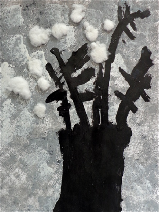 Fond à l'éponge + Tronc en peinture et coton
