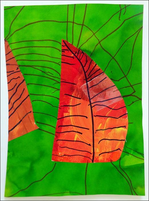 Fond à l'encre + Feuille en peinture et nervures au feutre noir, arbre arts plastiques maternelle