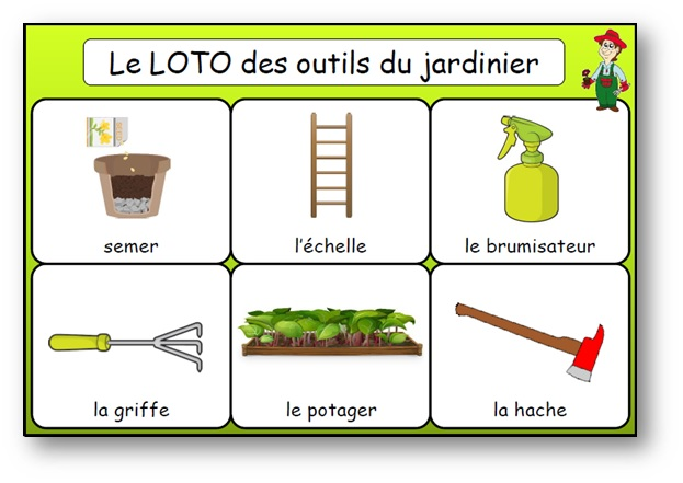 le loto des outils du jardinier jeu de bingo du jardinage. Black Bedroom Furniture Sets. Home Design Ideas