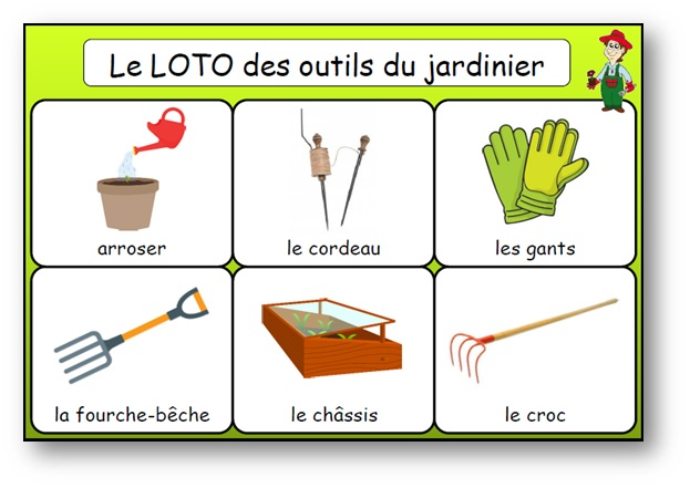 Loto des outils du jardinier