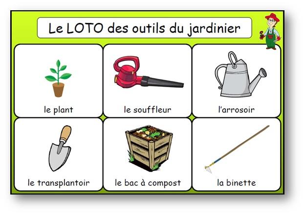 Loto des outils du jardinier, loto des outils du jardin en maternelle