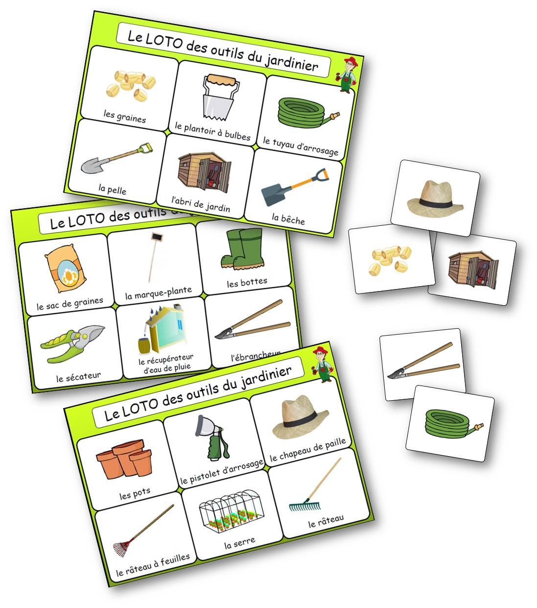 loto des outils du jardinier, jeu autour du vocabulaire du jardin, loto outils du jardinier