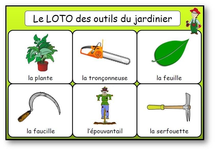 Loto des outils du jardin et des plantes