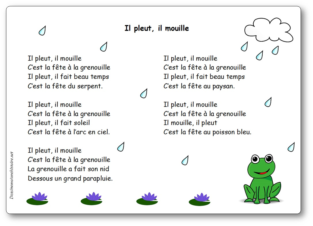 il pleut il mouille c'est la fête à la grenouille