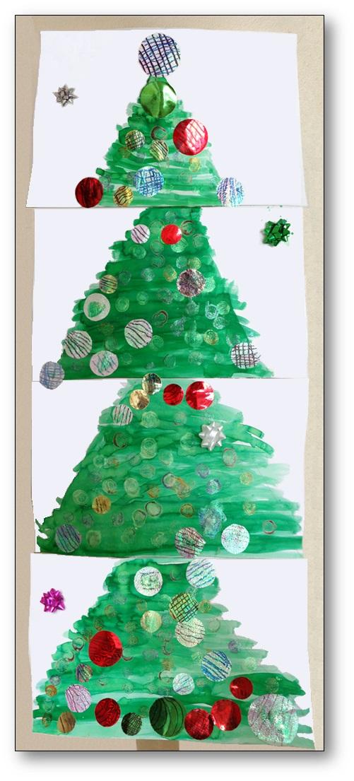 Sapin de Noël collectif en arts plastiques   Un sapin collectif