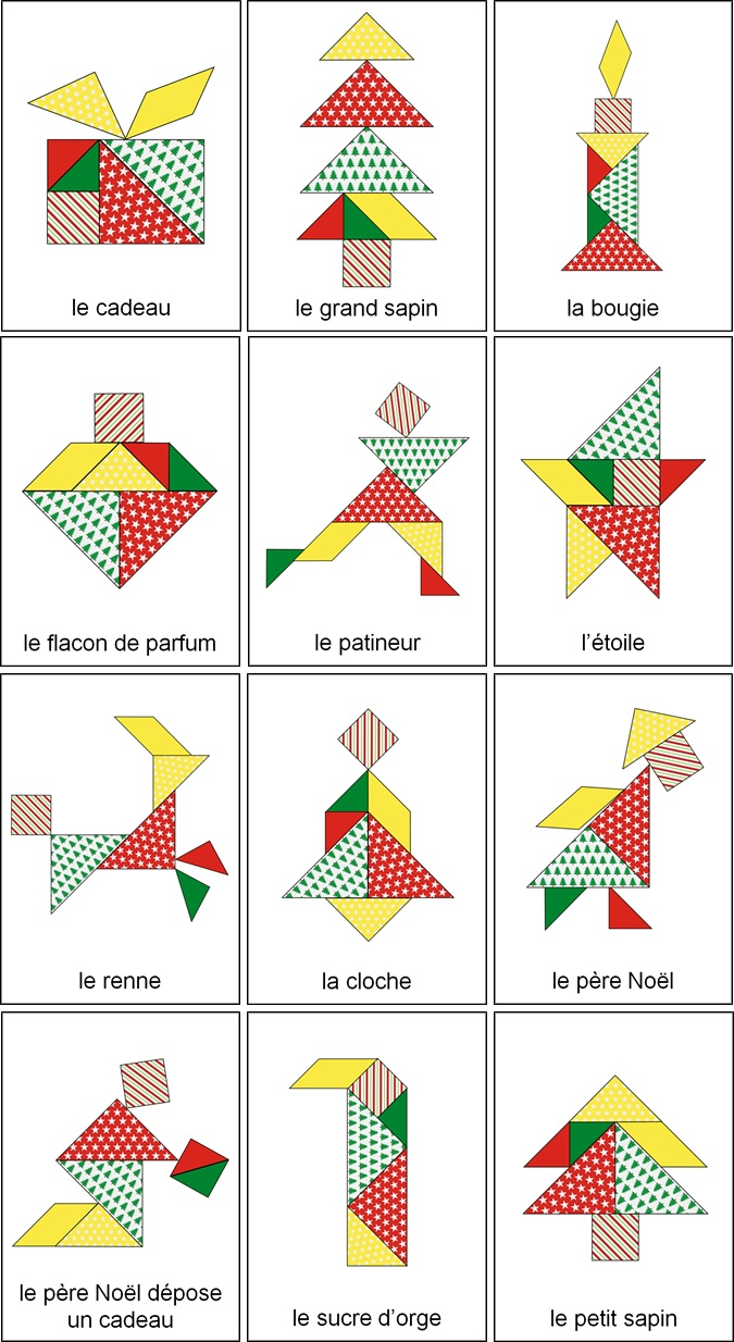 Tangram de Noël modèles à imprimer, tangram arbre de noel