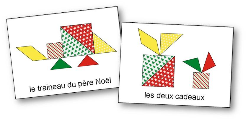 modèles du jeu Tangram de Noël à imprimer gratuitement