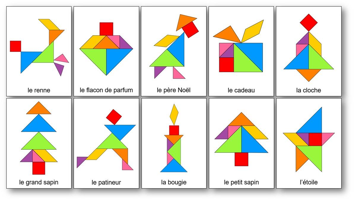 Tangram de Noël, tangram sapin de noel solution