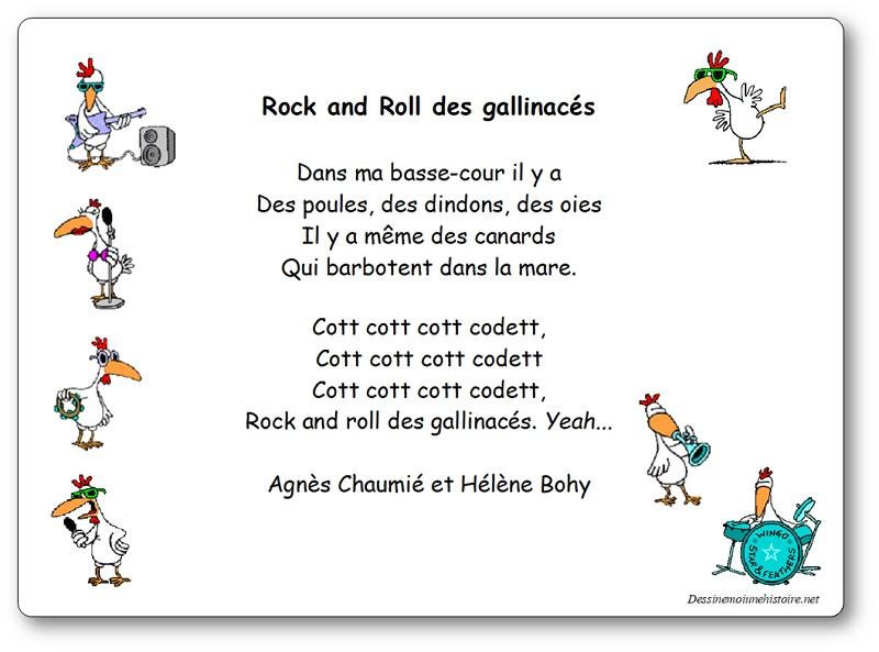 """""""Rock and roll des gallinacés"""" , une chanson d'Agnès Chaumié et Hélène Bohy"""