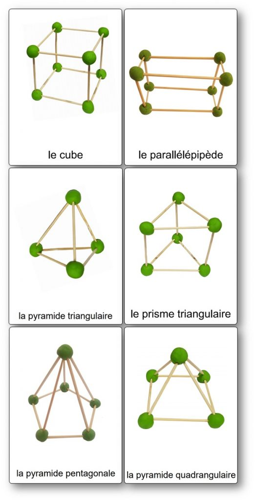 Modèles de construction de formes géométriques en volume en pâte à modeler et piques à brochettes
