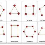 modèles de construction de formes géométriques 2D en pâte à modeler et pics à brochettes