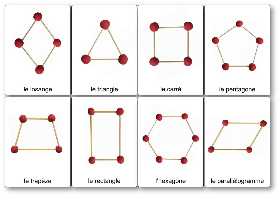 Modèles de construction de formes géométriques planes en pâte à modeler et piques à brochettes