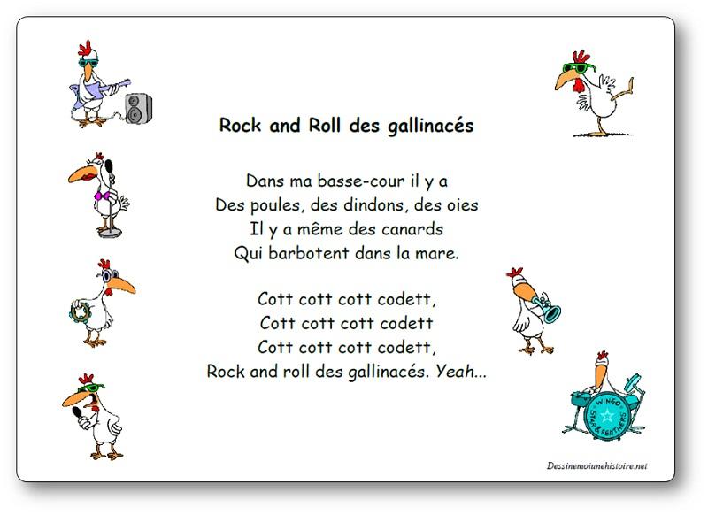 Rock and roll des gallinacés, une comptine interprétée par Agnès Chaumié et Hélène Bohy