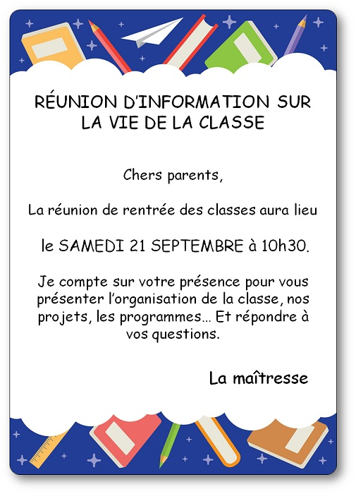Affiche reunion de rentree des classes parents professeurs