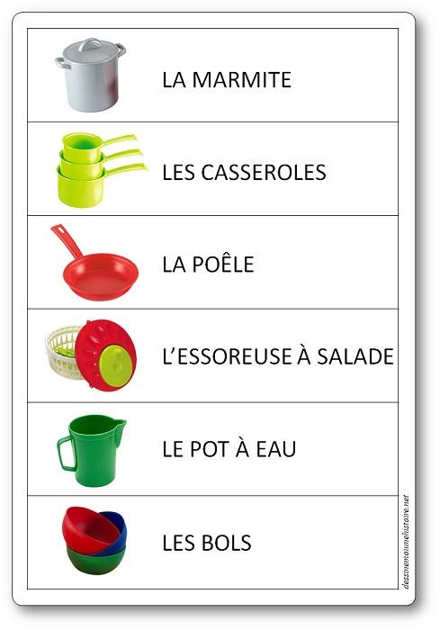 etiquettes coin cuisine maternelle