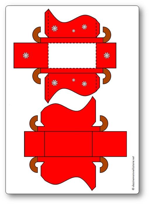 Patron du traîneau du père Noël à imprimer