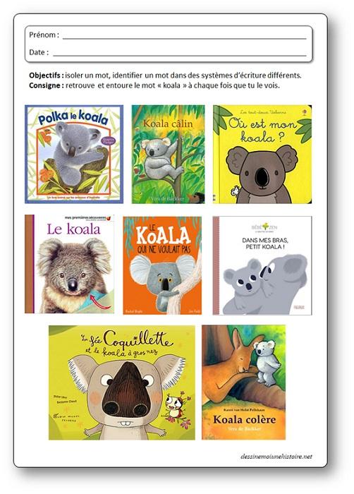 """Activité sur les koalas : Identifier le mot """"koala"""" dans des systèmes d'écriture différents. Fiche koala maternelle"""