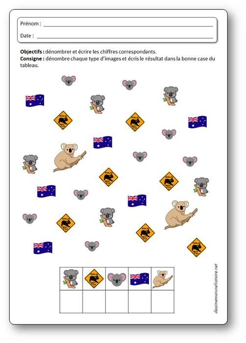 Activité de numération sur les koalas : dénombrer jusqu'à 8