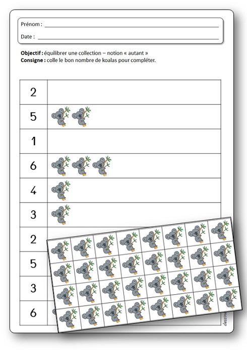 Activité de numération sur les koalas : équilibrer une collection