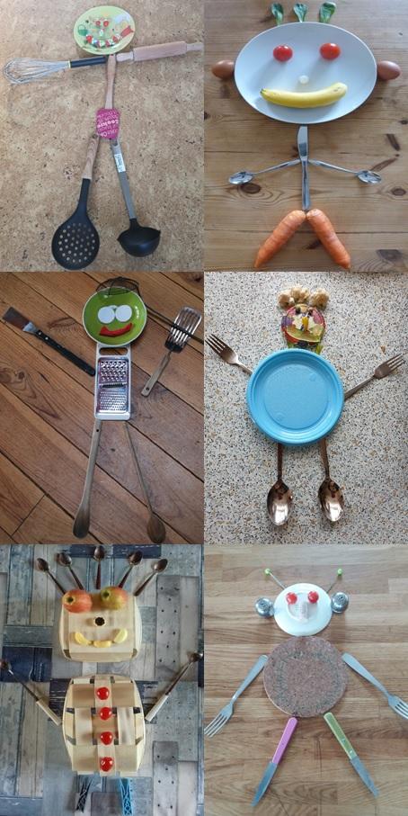 Créer un bonhomme avec des objets de la maison : Le bonhomme de la cuisine