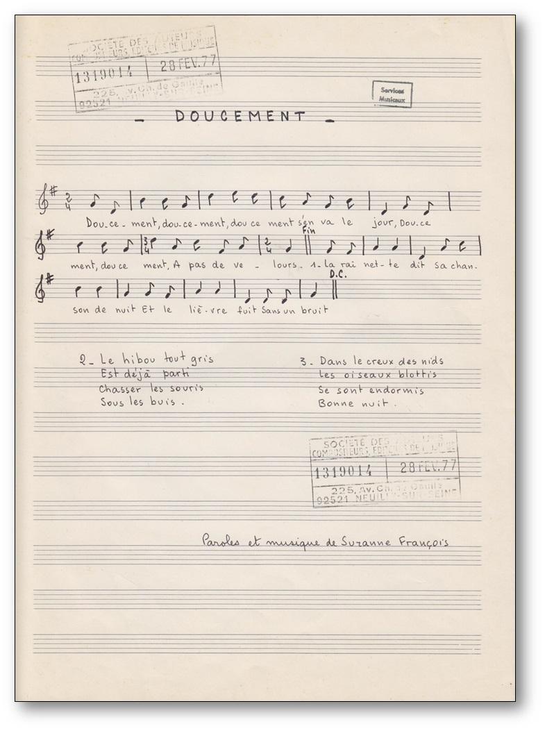 Doucement s'en va le jour de Suzanne François : Partition de la chanson