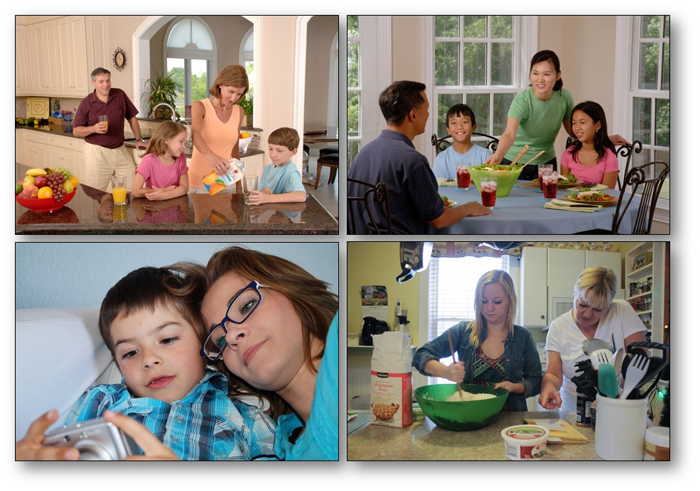 Photos d'actions simples liées à un lieu : en famille, dans la cuisine, photo langage maternelle