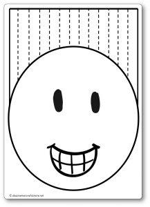 Découper une feuille de papier : les cheveux du bonhomme