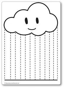 Découper une feuille de papier : la pluie