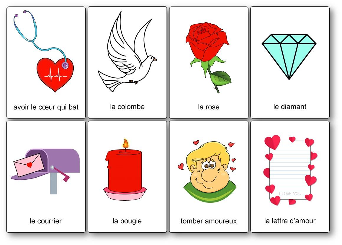 cartes de nomenclature sur la Saint Valentin, imagier Saint Valentin