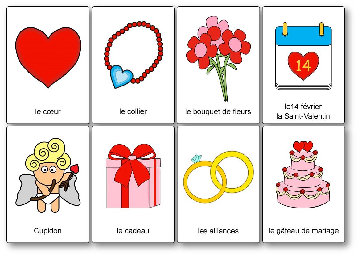 Imagier de la Saint-Valentin romantique coeur, imagier Saint Valentin