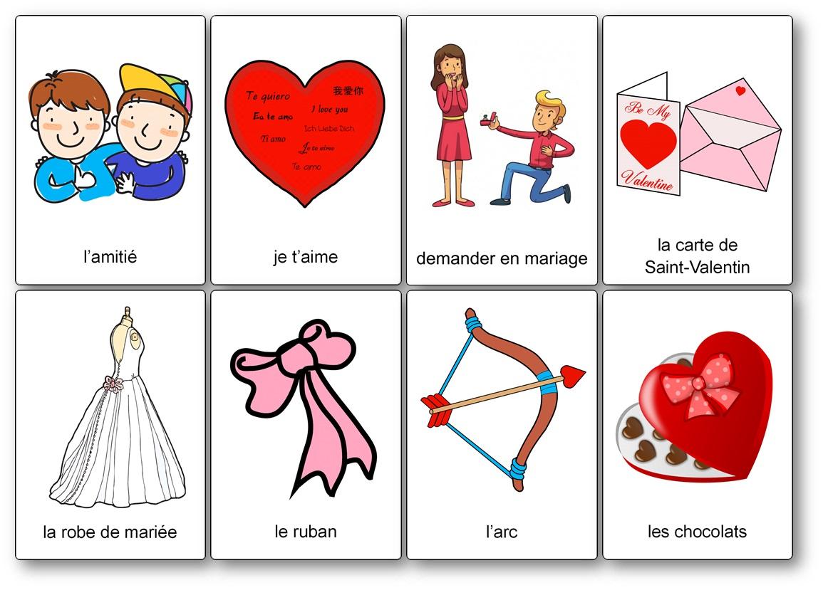 imagier Saint Valentin à imprimer gratuitement PDF, imagier Saint Valentin