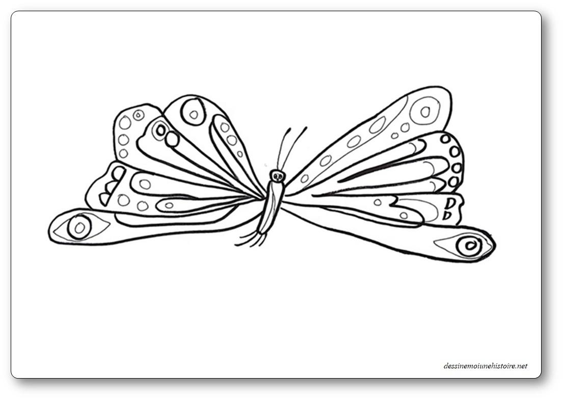 Coloriage La chenille qui fait des trous : le papillon