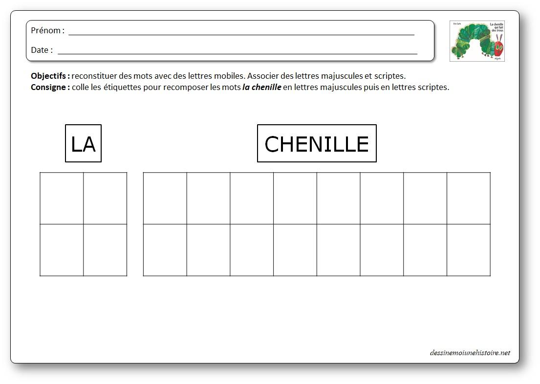 """Reconstituer les mots """"La chenille"""" avec des lettres GS"""