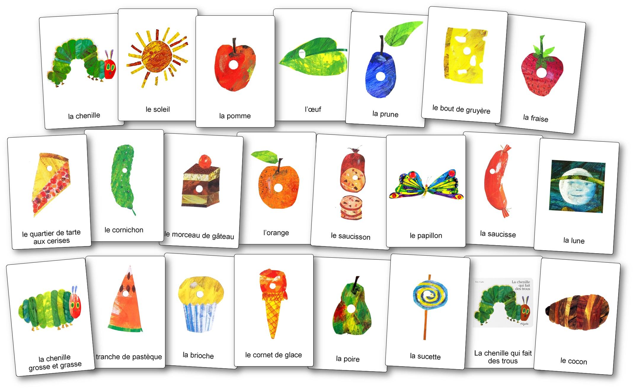 Flashcards imagier La chenille qui fait des trous images nomenclature