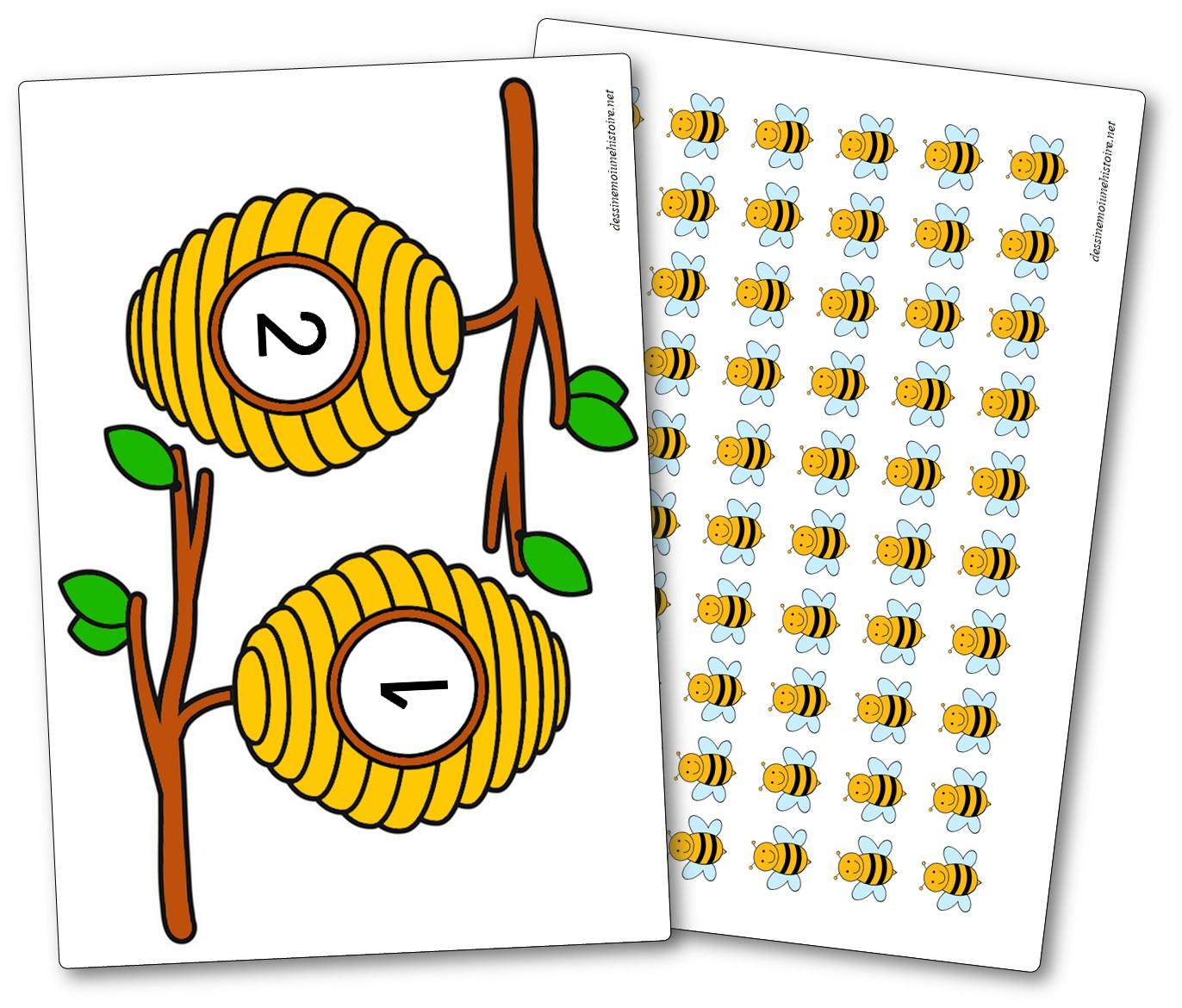 Les abeilles et les ruches jeu mathématiques à imprimer, Jeu numération abeilles, jeu mathématiques abeilles