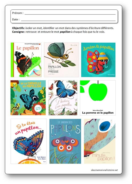 activité de lecture la chenille qui fait des trous : entoure le mot papillon dans les albums
