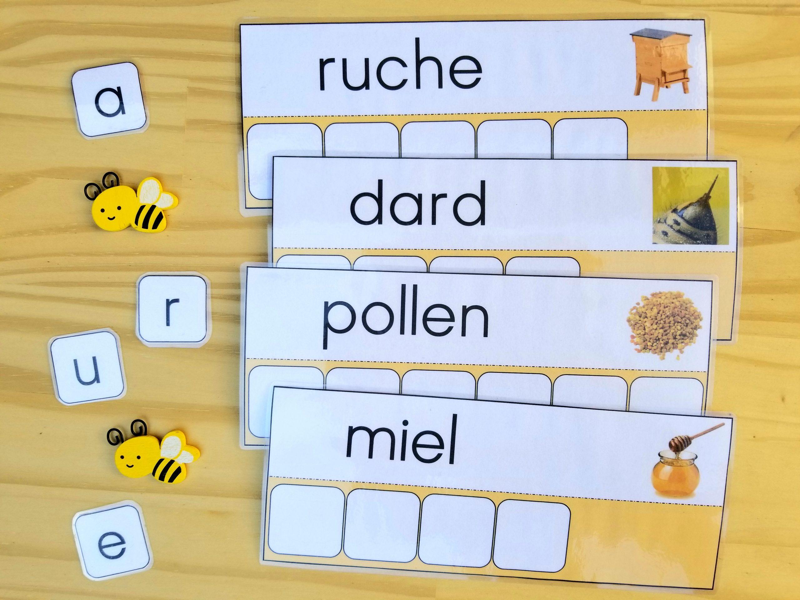 Apprendre à écrire des mots sur le thème des abeilles, Atelier des mots abeilles