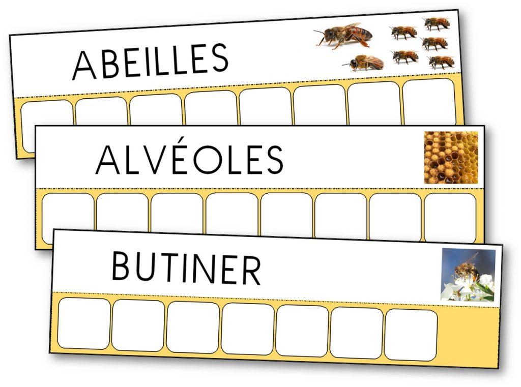 Ecriture Atelier des mots Abeilles mots longs capitale. Atelier des mots abeilles