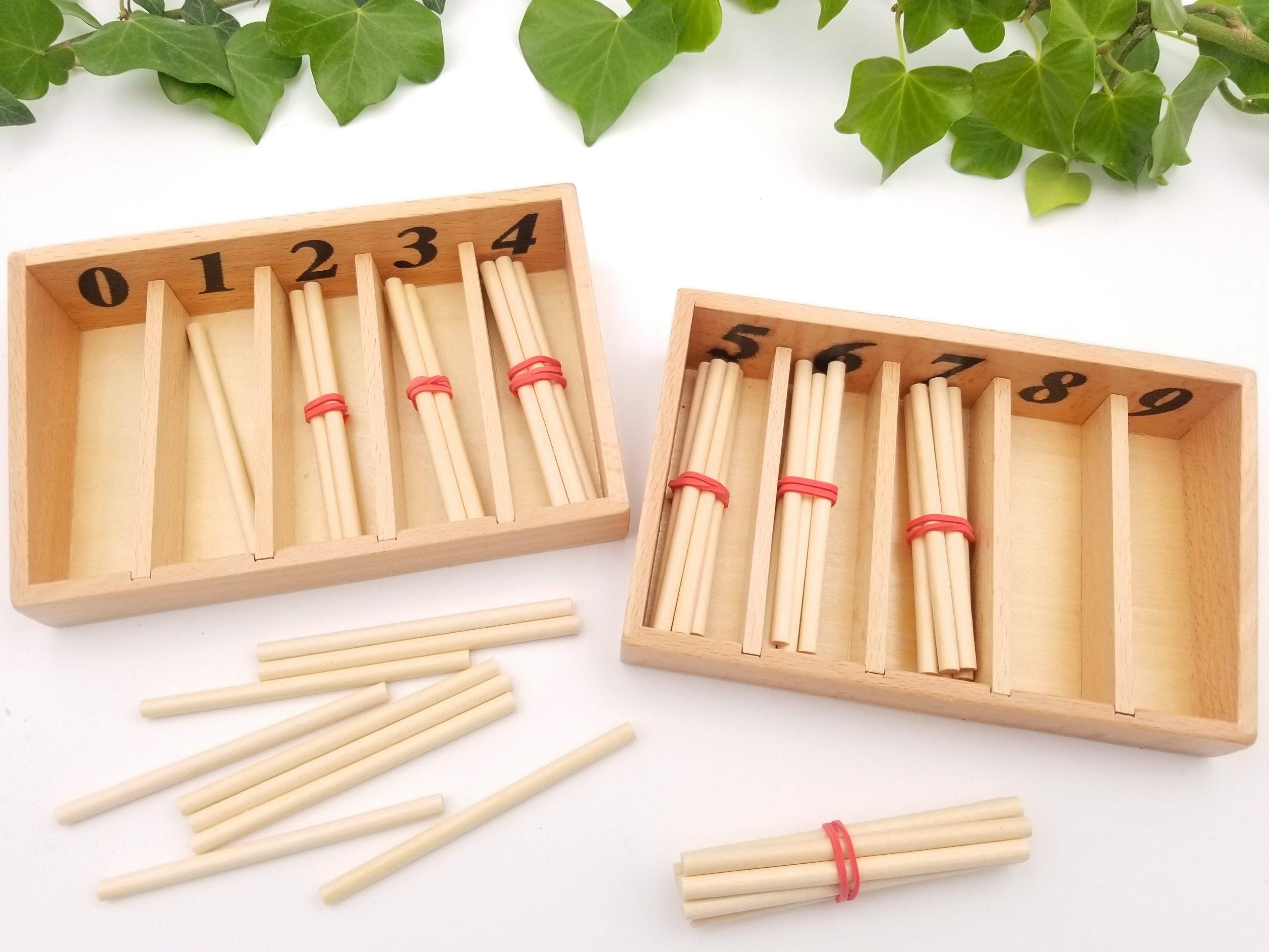 Fuseaux Montessori bâtonnets pour compter, boite fuseaux montessori