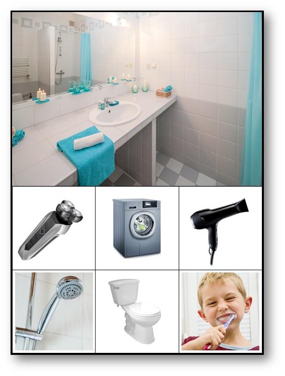 Loto sonore lieux familiers La salle de bain