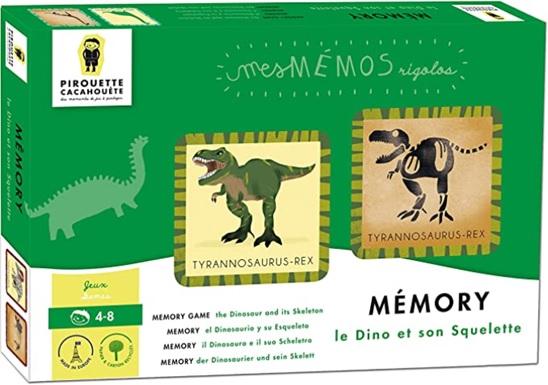 Mémory Le dino et son squelette aux Editions Pirouette cacahouete