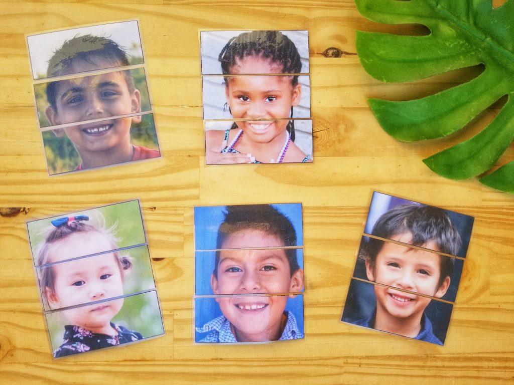 Reconstituer des visages d'enfants, puzzles visages