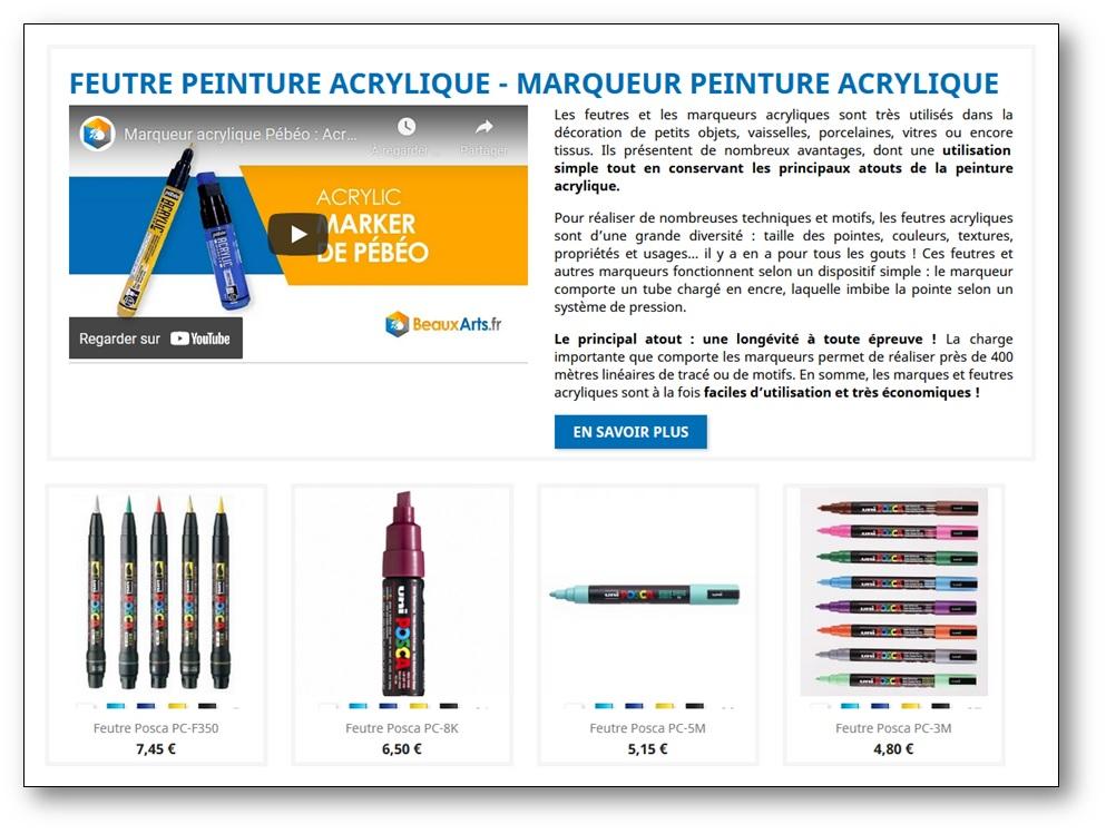 Feutres peinture acrylique site Beauxarts.fr, graphisme boucles arts visuels ms gs