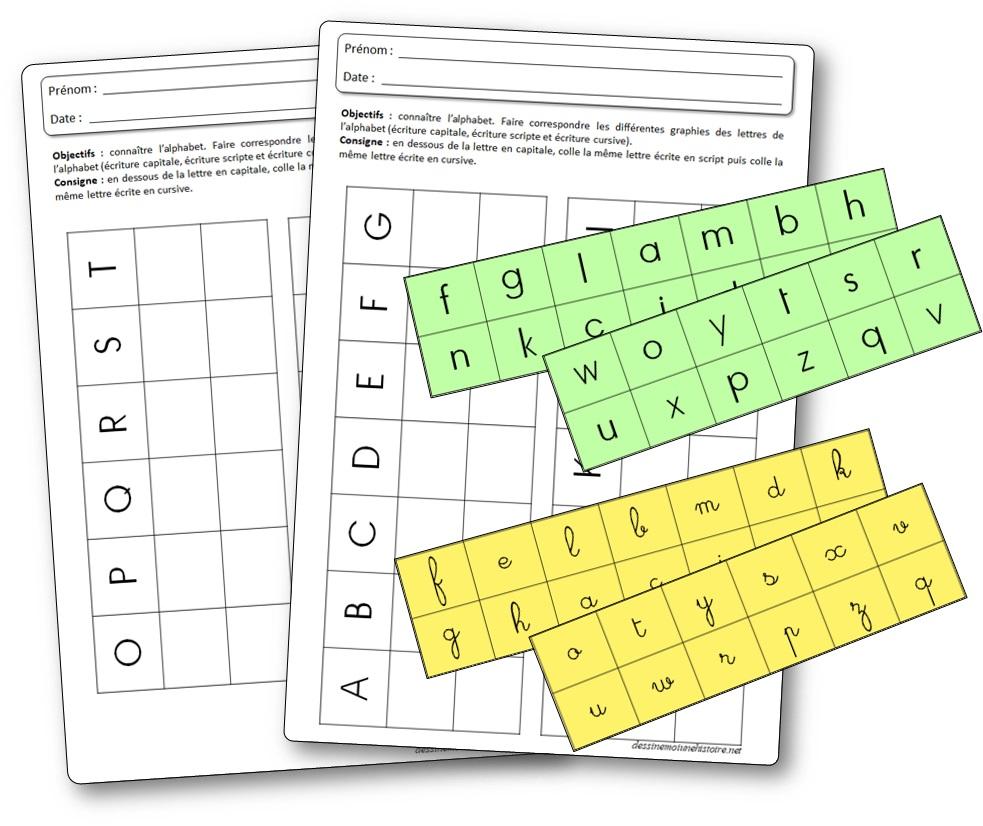 Fiches sur la reconnaissance des lettres de l'alphabet en capitale script et cursive, activité lettre de l'alphabet