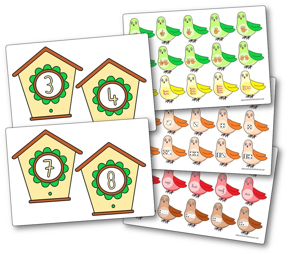 Jeu de correspondance compter les oiseaux nichoirs, différentes désignation des nombres de 1 à 10