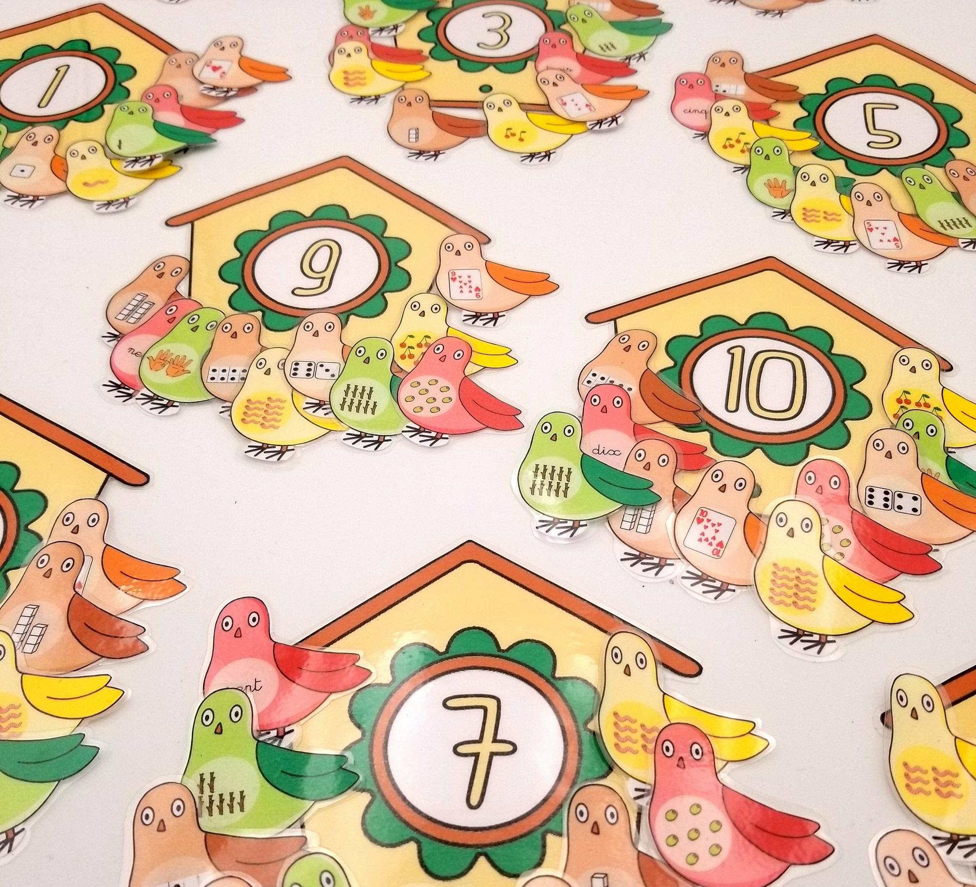 associer les oiseaux a leur nichoir jeu de correspondance mathématiques, jeu association nombre